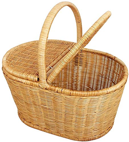 Zyyqt Bambus Rattan Picknickkorb, Gemüsekorb, Außen Creative Einkaufskorb mit Deckel, Clamshell Food Storage Korb, Bambus Baske