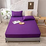 YFGY Sábana Bajera Ajustable elástica para Cama Double Purple,Solid Color Cotton Fitted Bed Sheet, Soft Bed Sheet with Elastic Bottom Sheet with Pillowcase 150 * 200cm