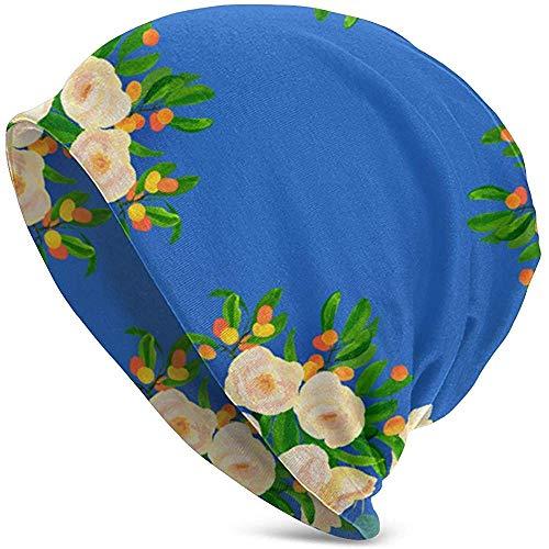 H.D. Beanies Hat Floral Kumquats On Blue Fabric Warme,Lässige Beanie-Mütze - Köstlich Weiche Daily Beanie Aus Feinem Strick