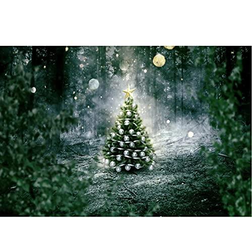 Bosque Viejo árbol Feliz Navidad árbol Estrella Fiesta Noche Escena Foto de Fondo fotografía telón de Fondo Estudio fotográfico sesión fotográfica-250x180cm