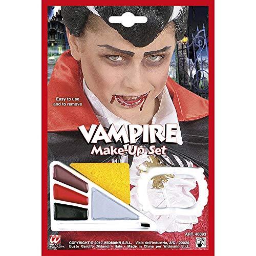 Widmann 40093 Vampir Schminkset mit Accessoire, Jungen, Braun/Rot/Schwarz/Silber, 4 Farben