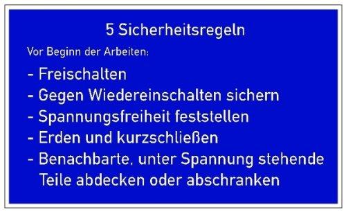 H.Klar Schild PVC 5 Sicherheitsregeln D-H003 120x200mm