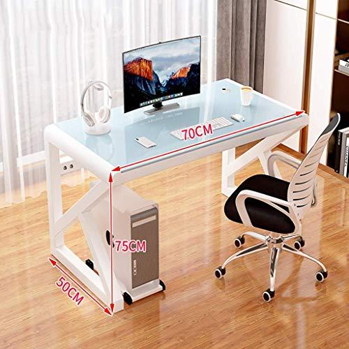 Escritorio de computadora Mesa de escritorio de computadora, hogar simple, escritorio de oficina, escritorio de estudiante simple, escritorio de computadora de estudio templado de vidrio para dormito