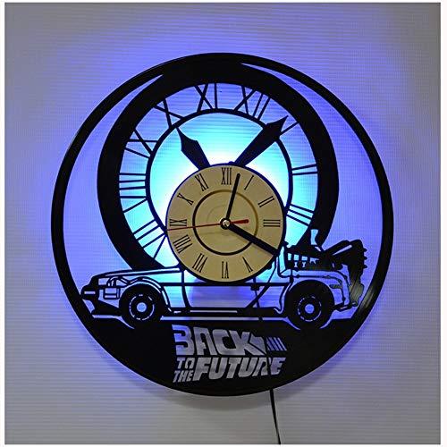 ZhangXF Zurück in die Zukunft 4 Stück Vinyl Record Wanduhr, LED Leuchtende 12 Zoll Retro Vinyl Record Clock Dekoration Sieben Farben