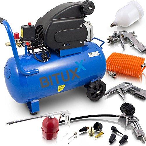 BITUXX® Druckluftkompressor 50L Luftdruck Kompressor 50 Liter + 13 teiliges Druckluft Zubehör-Set inkl. Ausblas- Reifendruck- & Lackierpistole + Schlauch