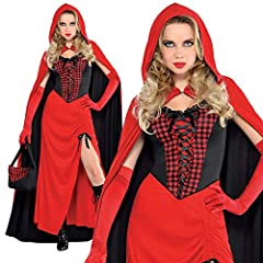 LADIES RED RIDING HOOD HALLOWEEN GOTHIC FAIRYTALE FANCY DRESS COSTUME - ADULTS DRESS, LACE UP GINGHAM CORSET, REVERSIBLE HOODED CAPE, BLACK OPEN TOP BASKET AND GINGHAM HANDKERCHIEF (XLARGE) #1