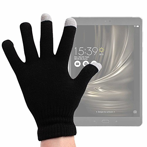 DURAGADGET Guantes Negros para Pantalla Táctil para Tablet ASUS ZenPad 3s 10 / Alcatel Pop 4 / Konrow K-Tab 1000+ / 1001+ / 701+ / 702+ - Talla Grande - ¡Ideales para El Invierno