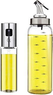 Oil Bottle Olive Oil Dispenser Oil Sprayer Set for Cooking 17OZ Lead-Free Glass Bottle for Oil Drip Free Spout Bottle Stai...