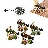 TopDirect 4PCS 75 x 60 x 55mm ferro da tavolo letto gamba Lock estensione pieghevole freno anteriore staffa di supporto con viti