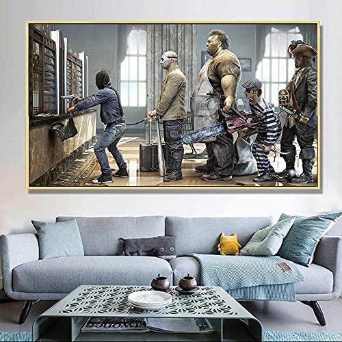 ZHANGGONG 1 del duk bilder väggdekoration målningar moderna vardagsrum sovrum på väggkonst för vägg hänga heminredning HD-tryck kö robery bänk (Ps-ram) – 60 x 90 cm