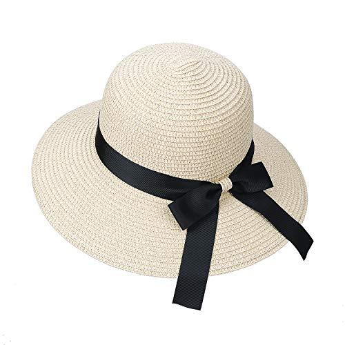 Sombrero de Paja para Mujer Plegable Bohemia Verano Sun Floppy Sombrero de la Playa con Nudo de Proa del Borde Transpirable Grande Ancho Cap para Viajes Vacaciones