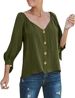 Yemenger Casual Lantern Sleeve Blouse for Women Crinkle Gauze Shirt 3/4 Sleeve Knot V Neck Button Down Top Ladies