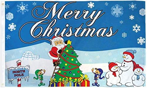 Merry Christmas Polyester Flag 3 X 5ft-(FI)