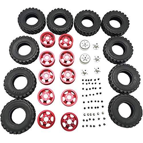 YNSHOU Accesorios de Juguete Rueda de Metal de Doble neumático para WPL B16 B36 JJRC Q60 Q63 Q64 6WD 6X6 RC Truck Upgrade Parts, Rojo