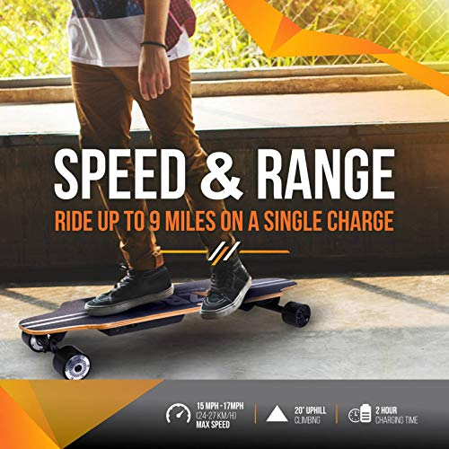 AZBO Electric Skateboard Longboard with Remote Control - Gift Protective Gear Set & 800w Dual hub Motor UL2272 Certified/Motorized Powered Board C5 for Adults - 17 mph Speed 8 Layers Maple