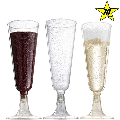 Plastic Classicware Glass Like Champagne Wedding Parties Toasting Flutes (1 Box = Quantity 70)