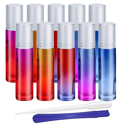 JHD: Glasflaschen mit Farbverlauf, nachfüllbar, für ätherische Öle, Aromatherapie, Duft, mit Flaschenöffner und Pipette, ideal für Zuhause und unterwegs, 10 Stück