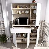 HABITMOBEL Mueble Armario de almacenaje Organizador Auxiliar 1 Hueco con estantes, un cajón y Tres Compartimentos con Puertas