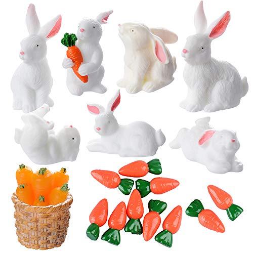 19 Pcs Miniaturas de Jardín Conejos y Zanahorias Decoración Estatua de Patio Adorno Animales Plantas de Paisaje Decorativo para Fiesta de Pascua