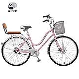 ZZD 24-Zoll-Single-Speed-City-Pendlerfahrrad mit Helm, Comfort Ladies Beach Cruiser-Fahrrad, Doppelscheibenbremsen und großem Frontkorb,Rosa