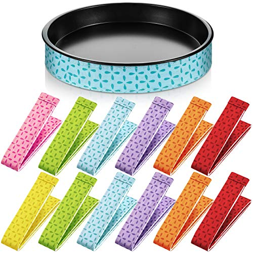 12 Pieces Bake Even Strips Cake Pan Strip Tray Protection Strap Absorbent Thick Oven Baking Strips for Baking (Purple, Blue, Green, Red, Orange, Pink, Yellow)