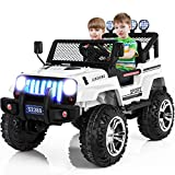 Bilidex 2 Seater Electric Cars for Kids, 12v Battery Car for Kids with 2.4G Remote Control, Spring Suspension, LED Lights, Horn, Bumper Guard, Openable Doors (White)