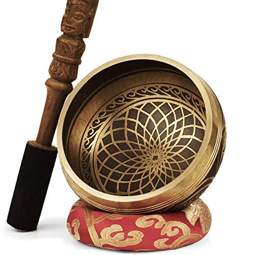 TARORO Cuenco Tibetano; Ø13cm; hecho a mano en Nepal ~ Diseño antiguo original ~ Vendido con un cojín de seda roja y un mazo con Dorje tallado a mano ~ Regalo espiritual