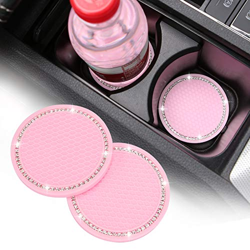ACODABLEM 2 Pack Car Cup Holder Coaster, 2.75 Inch Soft Rubber Pad Set Round Auto Cup Holder Insert Drink Coaster Car Interior Accessories (Pink)