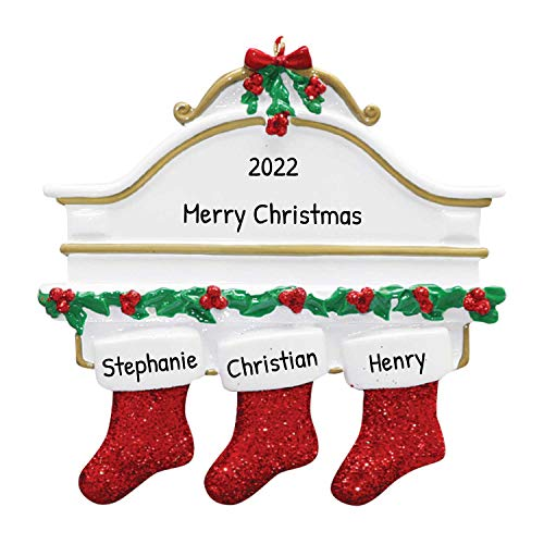 Personalized White Mantle Family of 3 Christmas Tree Ornament 2020 - Cozy Garnish Glitter Holiday Mother Father Child Friend Winter Tradition Foster Gift Year Grand-Kid Engrave - Free Customization