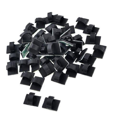 sourcingmap WCC-2 Lot de 50 clips attache-câbles en plastique Noir 10 mm