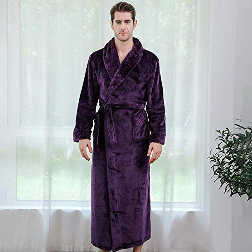 ASADVE Los Amantes Usan Albornoces cálidos de Invierno Hombres y Mujeres Dobby Kimono Albornoz Bata Pijama de Dama de Honor-Hombres morados_L