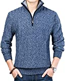 Jenkoon Mens Casual Solid Quarter-Zip Knit Sweater Slim Fit Mock Neck Polo Sweater with Ribbing Edge (Blue, Small) from