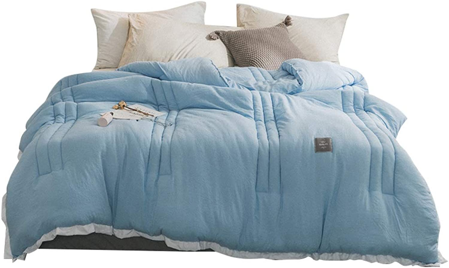 Warm Quilt Fashion Washed Cotton Quilt Polyester Fiber Keep Warm Cozy Soft No Smell Increasing The Thickness Single Double Bed bluee White Edge Winter Comforters Antiallergic Quilt