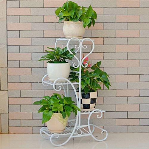 JKL-Soportes para Plantas Soporte de Flores de Hierro Forjado, Estante para Balcones Multicapa, Estantes para jardineras de pie (Color : Blanco)