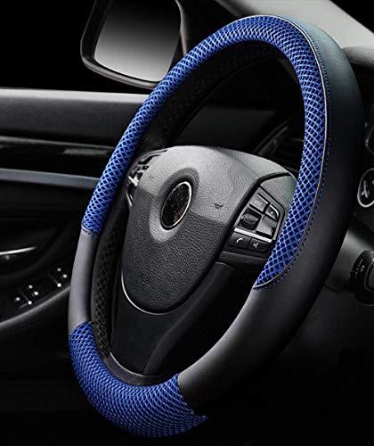 Funda de Volante de Seda de Hielo Transpirable Antideslizante para automóvil azul