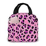 Bolsa de almuerzo reutilizable con estampado de leopardo,caja portátil con bolsa más fresca y bolsillo frontal para picnic de viaje