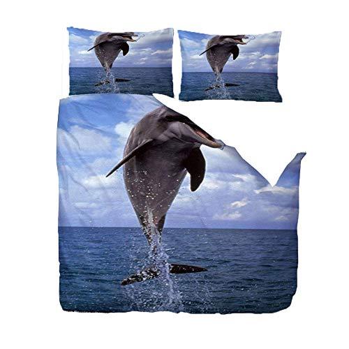 Fundas Nordicas 200 x 200cm Salto del Delfín 3D Impresa Suave Microfibra Hipoalérgico Juego De Ropa De Cama con 2 Fundas De Almohada 50X75Cm