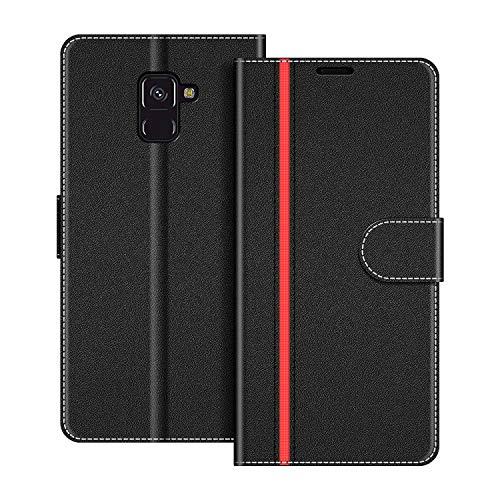 COODIO Handyhülle für Samsung Galaxy A8 2018 Handy Hülle, Samsung Galaxy A8 2018 Hülle Leder Handytasche für Samsung Galaxy A8 2018 Klapphülle Tasche, Schwarz/Rot