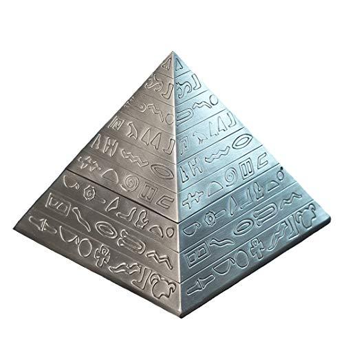 Kepfire Creativo Retro Metal con Tapa Cenicero Hogar Hotel Oficina KTV Decoración Antiguo Egipto Escultura Pirámide Adorno Fiesta Regalo - Antiguo Estaño Color