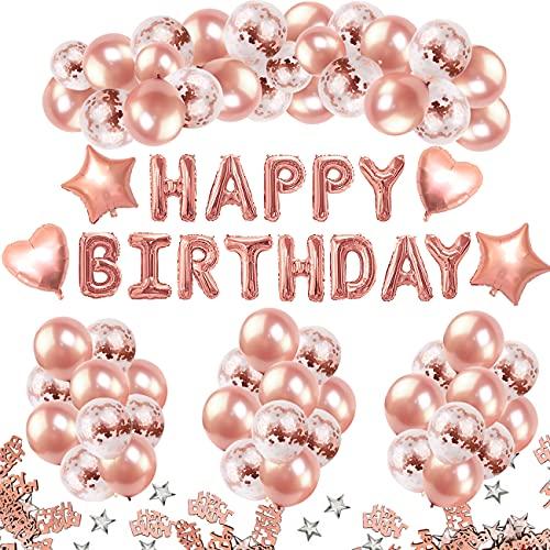 iZoeL Geburtstagsdeko Frauen Rosegold Happy Birthday Partydeko 36 rosagold Luftballons 15 Konfetti Ballons 4 Herz Stern Folienballon 10G Konfetti