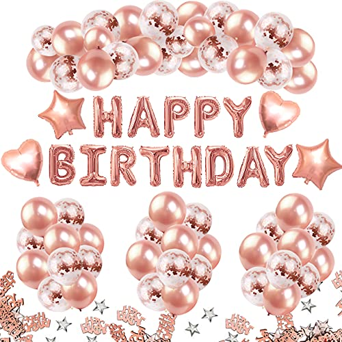 iZoeL Ballon Anniversaire Fille Rose Gold, Kit Decoration Anniversaire Femme, 13 Banderole Joyeux Anniversaire, 35 Rose Ballon, 15 Ballon Confettis, 4 Etoile et Coeur, 10g Confetti Happy Birthday