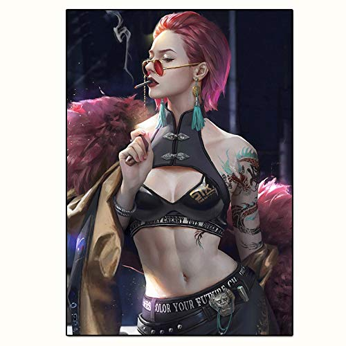 Canvas Painting Wall Art 3d Posters Fashion Girl With Glasses Tattoo Pictures On The Wall Anime Paintings for Home Decor (Color : BH289, Size : 50x75CM No Frame)
