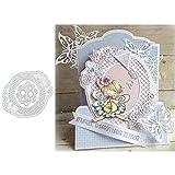 Zhouba Stanzschablone aus Metall, zum Basteln von Karten, ovaler Rahmen, für Bastelarbeiten, Scrapbooking, Papierkarten, Album, dekorative Schablone – Silber