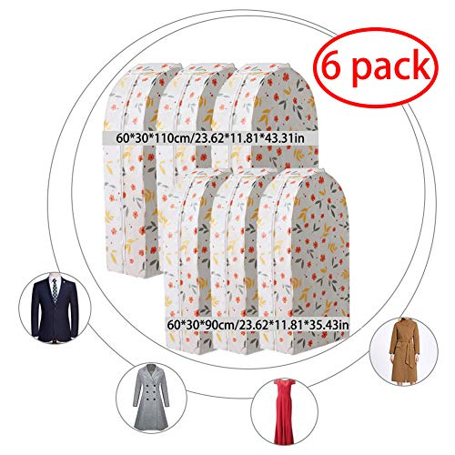 LCAZR Kleidungsabdeckungen, PEVA Material Staubdichte Kleidungsabdeckungen Mottenfeste Manteltasche mit Reißverschluss, 6er Pack wasserdichter, atmungsaktiver Anzugsschutz,2