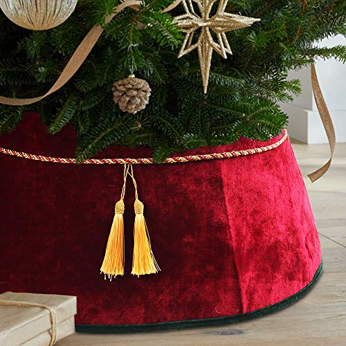 Meriwoods Christmas Tree Collar 25 Inch, Large Velvet Tree Skirt with Tassels, Country Rustic Holiday Indoor Decorations, Red & Green