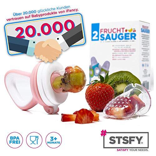 2 Fruchtsauger für Baby & Kleinkind + 6 Silikon-Sauger in 3 Größen – BPA-frei – Schnuller Beißring für Obst Gemüse Brei Beikost - 2