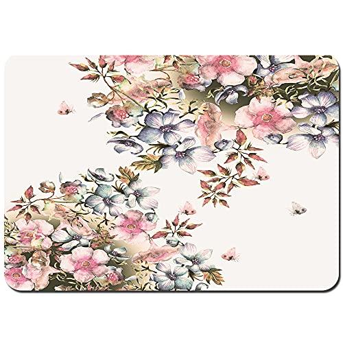 Juego de Alfombrillas de baño Antideslizantes,Hermosas Flores de Primavera Guirnalda Acuarela Phlox,Cómoda Alfombra de Piso Absorbente de Microfibra de Felpa Lavable 75x45cm