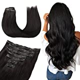 WENNALIFE Seamless Clip In Hair Extensions, 20 Inch 150g 7pcs Natural Black Hair Extensions Clip in Human Hair Invisible PU Skin Weft Natural Remy Human Hair Extensions