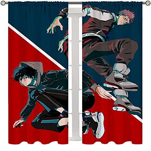 SSKJTC Cortinas impresas para dormitorio Anime Jujutsu Kaisen Itadori Yuji Chic Tela Dormitorio Salón Cortina W55xL39 Pulgadas
