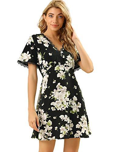 Allegra K Women's Floral Lace Trim Mini A-Line V Neck Dress Large Black